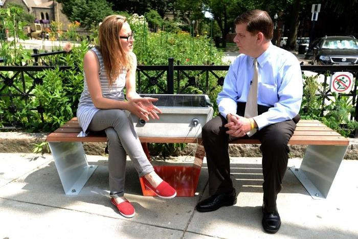 Solar Powered Boston Benches to Let Passersby Charge Phones